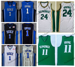duke blue shirt Coupons - Mens Vintage Kyrie Irving Jersey #24 St. Patrick High School Basketball Jerseys Cheap Kyrie Irving #1 Duke Blue Devils Stitched Shirts