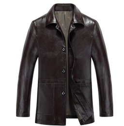 Wholesale Long Business Coats For Men - Men Leather Jackets For Men Suit Collar Business Coat Jacket Spring And Autumn Male Leather Jacket