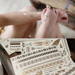 2019 pintura corporal de prata Body Art Pintura Tatuagem Adesivos Glitter Metal 24 K Ouro Prata Flash Temporária Tatuagem Sexy Não-Tóxico Descartável Tatoo À Prova D 'Água Adesivo Bl desconto pintura corporal de prata
