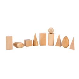 Wholesale wood shapes geometric - 10pcs set Kids Math Toys Wooden Geometric Shapes Solids Geometry Blocks Set Good Learning Education Toy DIY For Baby Gifts