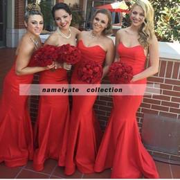 Новые дизайнеры Birdesmaid платье модифицированный милая декольте Красный Русалка платье невесты Платья свадьбы гость платья для девочек от Поставщики красные платья для свадьбы подружки невесты
