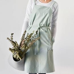 2019 baumwollblütenschürzen Mode gewaschen Baumwolle Schürze Blume Anordnen Division Arbeit Schürze Uniform Küche Tee Café Overalls Pinafore ZA6899 rabatt baumwollblütenschürzen