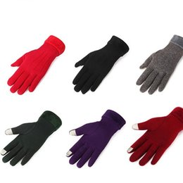 Wholesale Touch Screen Glove Cotton - Women Touch Screen Gloves For Winter Keep Warm Five Finges Glove Colorful Thicken Elastic Mittens Anti Pilling 13 5at B
