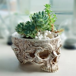 Wholesale Hand Carved Skull - Hand Carved Skull Flower Pot Human Skull Bone Bowl Home Garden Decor Halloween Decoration