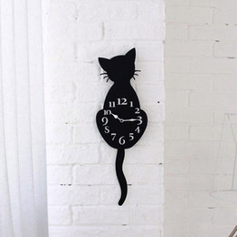 watches cat designs Promo Codes - Acrylic Creative Cartoon Cute Cat Wall Clock Home Decor Watch Way Tail Move Silence Modern Design Wall Clocks 2017d12