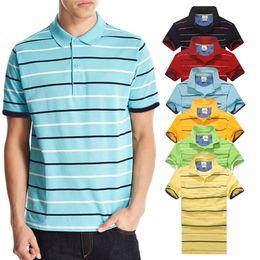Wholesale black yellow striped shirt - New arrival Stripe Polo Shirt Men crocodile Short Sleeve Summer Casual Camisas Polo t shirt Mens Free Ship