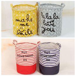 Wholesale media storage organizer - Stripe Storage Baskets 27*23cm Bucket Kids Room Toys Bins Bags Cartoon Striple Handle Organizer Laundry Bag 4 Styles OOA4326