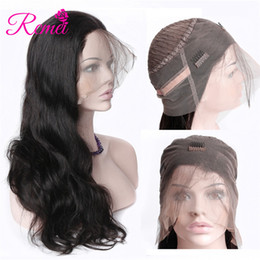 Wholesale long human hair lace wigs - Rcmei Hair Brazilian Body Wave Human Hair Wigs With Natural Hairline 360 Lace Frontal Wigs Pre Plucked 150 Density 360 Lace Frontal
