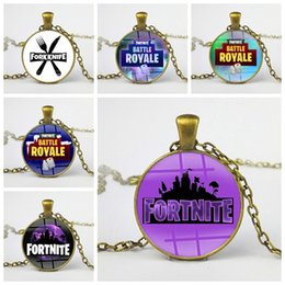 Wholesale gift souvenir keychain - Fortnite Battle Royale Necklace Classic FPS Game Time Gem Alloy Pendant for Adults Kids Jewelry Keychain Gifts Keyring Souvenir 2018 sale