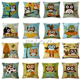 cushion pictures Promo Codes - Mindirection Cotton Linen Square Throw Pillow Case Decorative Cushion Cover Pillowcase Cartoon Owl Picture Hot Selling Good Quality