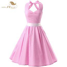vendita all'ingrosso Pink Red Black 50s Vintage Dress Polka Dots Casual Party Bandage Retro Rockabilly Swing Women Summer Dresses VD0087 da