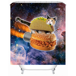 Wholesale funny bathroom decorations - Cat Shower Curtain Funny Printed Waterproof Polyester Bath Curtain Bathroom Accessories 180x180cm Curtains Home Decoration