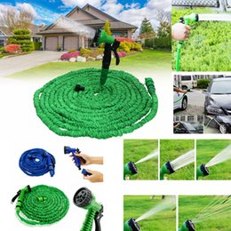 Wholesale green rubber hose - 2 Colors 50FT Latex Garden Water Hose Expanded Flexible with Spray Nozzle Pipe With Spray Gun Watering Cars Equipments AAA329