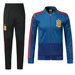 Wholesale men s suit jacket coat - 18 19 Spain Blue Soccer Tracksuit Adult Thai Quality Full Sleeve football Jacket And Pants 2018 Espana Training Suits Winter Soccer Coats