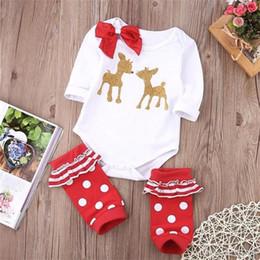 Wholesale Warm Baby Onesies - Santa Gift to Baby Deer Romper Read Striped Legging Warmer Golden Reindeer Bodysuit Bowknot Onesies 0-24M Christmas Kid Clothing Boy Girl B
