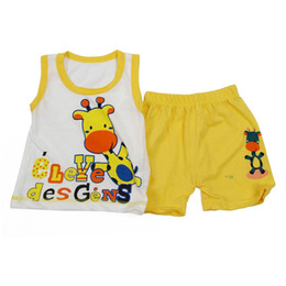 2019 sottogonne gialle Set di vestiti per bambini, T-shirt per ragazzi e pantaloni Pantaloni per bambini, Set per bambini, T-shirt per bambini New-Giraffe Yellow, 3T sconti sottogonne gialle