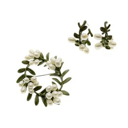 Wholesale Natural Jade Jewelry Set Green - Europe United States jewelry Vintage natural pearl rejuvenation Jinniang fashion green paint round leaf brooch stud earrings