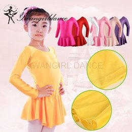 Wholesale Long Ballet Dresses - Girls Ballet shiny spandex leotards with skirt long sleeve dance costume ballet clothes for sale child ballerina dress free shipping SD4016