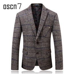 Wholesale Mens Grey Skinny Suit - Oscn7 Grey Hound Tooth Mens Wool Blazer 2017 Winter Thicker Check Slim Fit Blazers Mens Formal Casual Wedding Suit Jacket Men