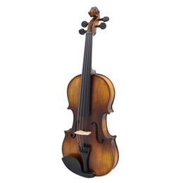 Wholesale solid wood acoustic - Vintage Handmade 4 4 Violin Acoustic Solid Wood Violin High-end Antique Musical Instrument With Storage Case