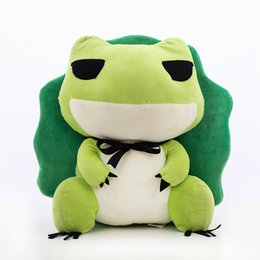 Wholesale video travel - Hot Sale Creative Toys The Frog Boy On The Trip Lovely Artificial Animal Travel Frogs Soft Plush Doll Gift For Children 8yf W