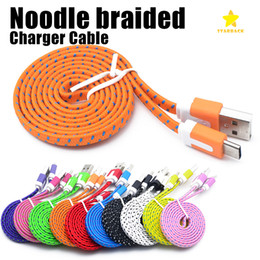 Wholesale Android 2m - High Quality 1M 2M 3M Flat Noodle Braided Charger Cable Fabric Braided Micro USB Charging Data Sync Cord for type-c Android