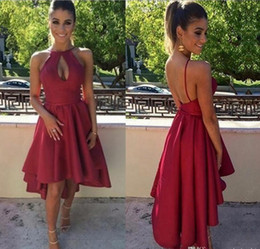 Wholesale Cheap Yellow Homecoming Dresses - 2018 Sheer Sleeveless Hi-lo Red Homecoming Dresses A Line Halter Neck Backless Tea Length Cocktail Dresses Sweet 16 Formal Party Gowns Cheap