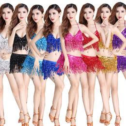 Wholesale sequin fringe dance dress - New Ladies Sexy Swing Fringe Flapper Latin Dance Dress Women Sets Sequin Tassels Samba Rumba Costume Ballroom Dance Dresses