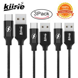 Wholesale Reversible Usb - Type C Cable Kiirie 3 Pack 2x6ft 1x3ft Nylon Braided Cord Metal Fast Charger with Reversible for USB Goophone Huawei Tablet PC Samsung S8 S9
