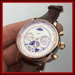Wholesale Tourbillon Watch Gold - Montre Homme 756033 P83000 GENEVE Sun and Moon Star Men's Gold Case Luxury Tourbillon Mechanical Automatic Style Sports Penetrating Watch