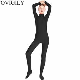 OVIGILY Donna Nero Spandex Zentai Full Body Skin Stretto Lycra Dolcevita Manica Lunga Unitards Dancewear Costumi Zentai Tuta da collant rosso scuro fornitori