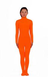 Kid Adulto Naranja Lycra Spandex Zentai traje de baile traje Unitard Body No Hood Hands desde fabricantes