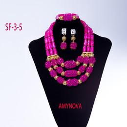 Wholesale Purple Costume Jewelry - 2018 New Nigerian Women Costume Jewelry Set Amazing Pink African Bead Statement Necklace Set Wedding Free Shipping