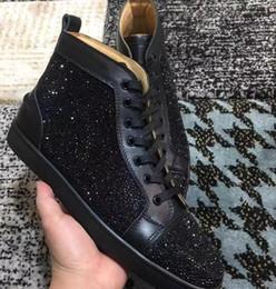 marcas famosas de sapatilhas Desconto Z268 New Arrival design famoso Mens Mulheres camurça preta com cristais High Top Tênis Fundo Vermelho, Marca Sapatos Casuais 36-47 Transporte da gota