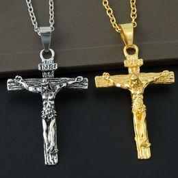 collana all'ingrosso della corda da baseball Sconti Croce collana crocifisso Gesù pezzo pendente in acciaio inox color acciaio uomini catena cattolica gioielli regali di Natale