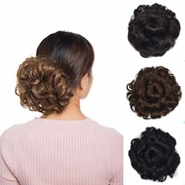 flower hairpieces Coupons - Sara Flower Blooms Curly Chignon Clip in Hair Adjustable Pull Rope Hair Bun Chignon Lightness and Natural Realistic Hairpiece