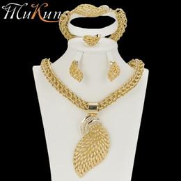 Joyería de boda etíope online-MuKun Classic conjunto de joyas etíope para la boda conjuntos de joyas africanas dubai color dorado para las mujeres collar / pendientes conjuntos