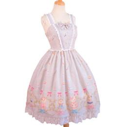 orecchie di gatto rosa cosplay Sconti Nuove donne Lolita Dress Cute Rabbit stampato Principessa Bow-Knot Vintage Nappa Abiti Costumi Cosplay