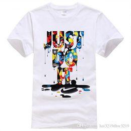 Wholesale Anime Appliques - 2016 New Fashion Just Do It T shirt Brand Clothing Hip Hop Letter Print Men T Shirt Short Sleeve Anime High Quality T-Shirt Men