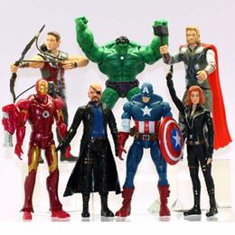 juguetes avengers de hawkeye Rebajas The Avengers Alliance 7 figuras de acción Hulk Iron Man EE. UU. Captain Hawkeye Raytheon muñeca de juguete de plástico