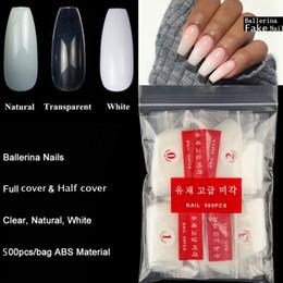 Bailarina Puntas De Uñas De Acrílico Conjuntos En Forma De Ataúd Natural Claro Bricolaje Bricolaje Nail Tip Salon Decorated Long Full Cover Nails