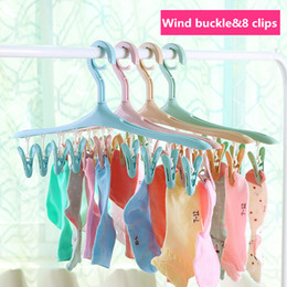 Wholesale Clothing Hanging - Wholesale Long strip of bright windbreaker clothespin pants folder buckle plastic non-slip hanger 8 folder hanging clothes