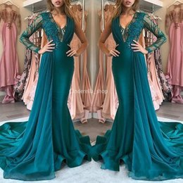 long teal evening dresses Promo Codes - Unique Design Teal Prom Dresses 2019 Long Sleeves Appliques Lace Mermaid Sweep Train Arabic Formal Evening Party Special Occasion Gowns