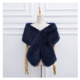 Wholesale White Pashmina Faux Fur - Winter women scarf Thicken faux fur pashmina super large Solid Color shawl fluffy fake raccoon fur wrap scarf brand decor FY06