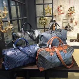 Wholesale Vintage Sports Bags - Luxury Vintage Real Genuine Leather Men's Women's Travel Bags Perfect Quality Retro Cow Leather Diamond Lattice Short Trip Duffel Bags