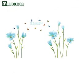 Wholesale vinyl sofas - Maruoxuan New Blue Lily Butterfly Decorative Decoration Bedroom Sofa Corridor Background Decorated PVC Wall Stickers