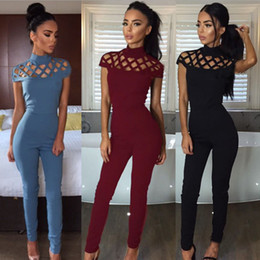 721fcd5029d Fashion Sexy Backless Off Shoulder Black red blue Jumpsuit Women Short  Sleeve Round Neck Hollow High Waist Jumpsuit Romper