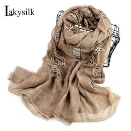 Wholesale embroidery silk scarves - [Lakysilk]New Brand Silk Scarf Women Embroidery Shawl Foulard Smooth Scarves Ladies Silk Neck Long Scarf Wraps For Spring