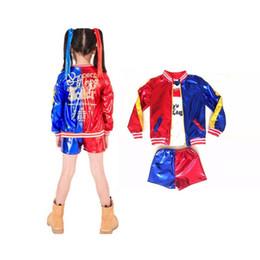 trajes de super-heróis de mulheres adultas Desconto Suicídio Dia das Bruxas Squ anúncio Harley Qu pousada Cosplay para meninas traje de Halloween para Kids Party Vestido Carnaval Arlequina Jacket