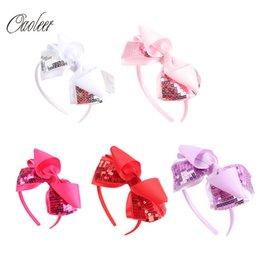Wholesale Handmade Headbands For Girls - 10pcs lot Sequin Hairband Handmade Solid Grosgrain Bows with Glitter Sequins Hair Bows Headbands For Girls